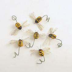 Bee Picks Honey Bees Bumble Wire Stems Corsage Bouquet Wedding By Efinegifts On Etsy