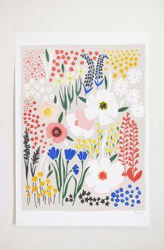 Anemone Garden Art Print - 12x16 by lisaruppdesign on Etsy https://www.etsy.com/listing/241941485/anemone-garden-art-print-12x16