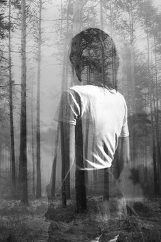 Abstract double exposure portrait of woman in forest | SSokolov