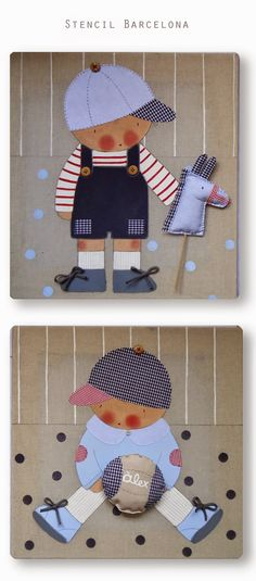 CUADROS PERSONALIZADOS Wool Applique Quilts, Baby Applique, Applique Templates, Cross Stitch Baby, Hand Embroidery Designs, Felt Dolls, Clever Diy, Baby Cards, Baby Sewing