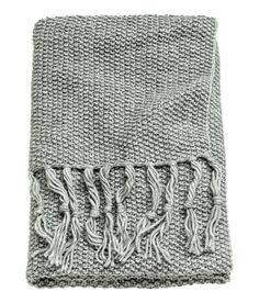 Check this out! Throw in soft, moss-knit fabric with wool content. Fringe at short sides. - Visit hm.com to see more.