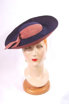 14296b6dad0 30s 40s Saucer Hat - Navy Blue and Brick - 40s Tilt Hat -30s Tilt Hat ·  Burgandy ColorVintage ...