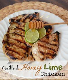 Grilled Honey Lime Chicken... marinate for 4 hours, cook for 15 minutes... flavorful, moist, and tender chicken breasts.