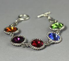 Custom Birthstone Bracelet, Mom, Mother's Bracelet, Silver Crystal Rhinestone Jewelry, Grandmother's Bracelet. $62.00, via Etsy.
