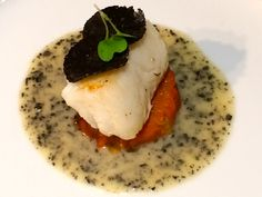 Black Truffle Chilean Sea Bass with Truffle Butter and Sweet Potato Puree. [ www.enjoyfoiegras.com ]