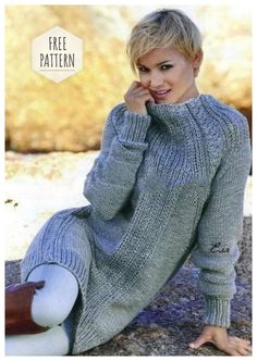 Crochet Patterns Sweter Long Pullover / Model 03 – wool from woolen and knitting makes fun … Crochet Pullover Pattern, Crochet Blouse, Knit Dress, Knit Crochet, Poncho Pullover, Pullover Outfit, Knitting Patterns, Crochet Patterns, Warm Dresses
