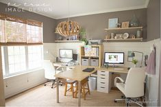 Home Office. Like the colors and horizontal planks. Functional desk set-up too