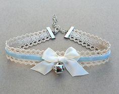 Blue Kitty Bell Chokers - Kawaii Hime Gyaru Sweet Gothic Lolita Choker Chocker Bow Necklace Pastel