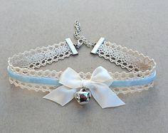 Blue Kitty Bell Chokers - Kawaii Hime Gyaru Sweet Gothic Lolita Choker Chocker Bow Necklace Pastel