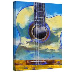 Michael Creese 'Guitar and Clouds' gallery-wrapped canvas is a high-quality canvas print depicting a translucent guitar over a colorful country landscape in the artist's signature vibrant, oil impasto style. A beautiful addition to your home or office.