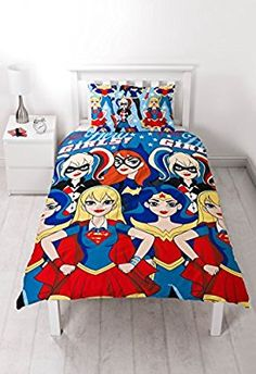 dc superheroes girls single duvet set repetitive print design - Twin Bed Sheets