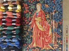 French lady of the castle needlepoint, Margot printed tapestry canvas by KindredClassics on Etsy Needlepoint Kits, Needlepoint Canvases, French Lady, Tapestry Kits, Vintage Canvas, Flower Backgrounds, Loire, 16th Century, Wool Yarn