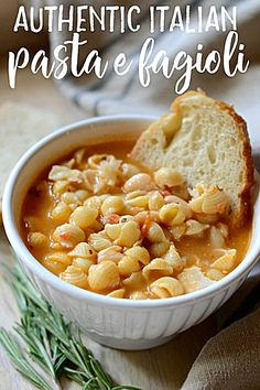 This traditional recipe for Pasta e Fagioli (pasta fazool) is simple comfort food at its finest (and nutritious to boot). Authentic Pasta e Fagioli - Authentic Italian pasta e fagioli soup made with cannellini beans, pancetta, rosemary, onion, and stock. Italian Soup Recipes, Healthy Italian Recipes, Italian Dishes, Authentic Italian Recipes, Traditional Italian Recipes, Vegetarian Italian, Vegetarian Barbecue, Italian Cooking, Barbecue Recipes