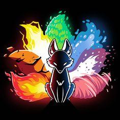 Elemental Kitsune t shirt Cute Fantasy Creatures, Mythical Creatures Art, Cute Animal Drawings, Cute Drawings, Anime Wolf Drawing, Naruto Uzumaki Art, Naruto Shippuden, Japon Illustration, Fox Art
