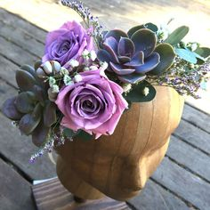 Rose and succulent flower crown as seen on @offbeatbride #wedding #headpiece #flowercrown