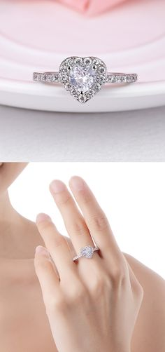 size 40 079d7 7f6f1 Fashion Brass Micro Pave Cubic Zirconia Finger Rings  rings  heart  jewelry   pandahall