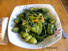 """Vlita (amaranth greens or can sub spinach) with zucchini, separately boiled potatoes (so they don't go gray) & simple Greek oil/vinegar or oil/lemon dressing. Another interesting site regarding this green is written by Maria Verivaki of """"Organically Greek"""": http://www.organicallycooked.com/2008/06/amaranth-vlita-and-black-nightshade.html"""