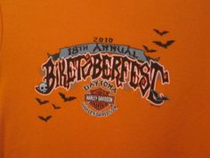 Harley-Davidson-Halloween-T-Shirt-Large-Junior-Biketoberfest-Orange-Bats-Skull