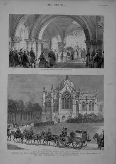 The Graphic-Jan 1888. The remains of Napolean iii & The Prince Imperial moved from Chistlehurst to the new Imperial Mausoleum at Farnborough