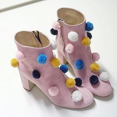 pom pom shoes who let the kids loose with the glue...put them away in a safe place, never to be found again!...