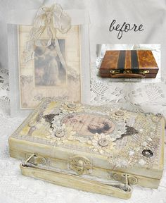 Shabby Chic Inspired: altered suitcase