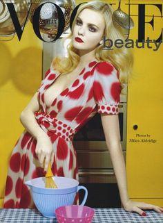 Caroline Trentini photographed by Miles Aldridge for the Vogue Italia beauty supplement.