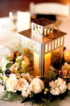 Lantern and floral centerpiece