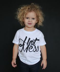 The Talking Shirt White & Black 'Hot Mess' Tee - Infant & Toddler by The Talking Shirt #zulily #zulilyfinds