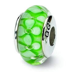 Sterling Silver Reflections Green Floral Hand-Blown Glass Bead ** See this great image  : Charms and Charm Bracelets