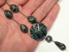 Antique Sterling Silver & Turquoise necklace, awesome!