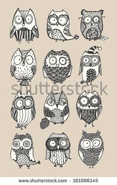Find Cute Owls Set stock images in HD and millions of other royalty-free stock photos, illustrations and vectors in the Shutterstock collection. Owl Doodle, Owl Books, Owl Quilts, Owl Cartoon, Felt Owls, Art Deco Posters, Bird Pictures, Owl Art, Baby Owls