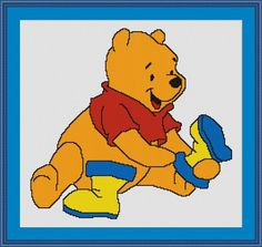Pooh Bear Getting Dressed Counted Cross Stitch Pattern in PDF for Instant Download
