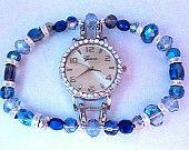 blue iridescent glass beaded watch band, stretch watch, women's watch, double stranded interchangeable beaded bracelet.