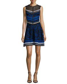Sleeveless Jacquard Fit-and-Flare Dress, Blue by Roberto Cavalli at Bergdorf Goodman.