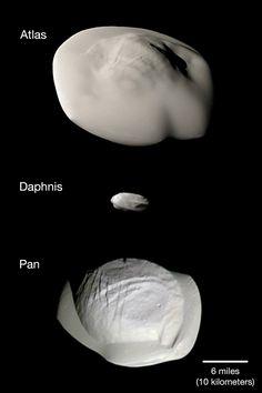 Atlas, Daphnis y Pan. Tres satélites de Saturno.