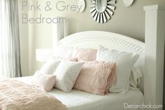 Pretty Grey and Pink Bedroom with white painted furniture.
