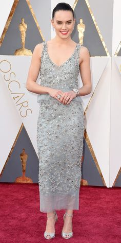 Daisy Ridley in a beaded gown