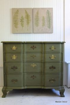 Olive with dark wax by Maison Decor. don't like the color of the handles but love the olive green!
