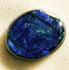 Dichroic Glass Cabochon - Gorgeous Blue Handmade Oval by JewelryArtistry - DC347 - pinned by pin4etsy.com