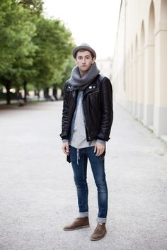 e4dbb1bc123 Fall   Winter - street style - hipster - black leather jacket + white t- shirt + grey scarf + grey fedora + cropped skinny jeans + brown suede  chukka boots