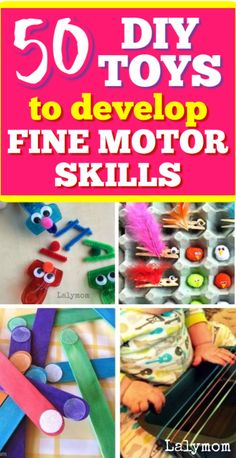 Here are 50 cool DIY Toys that promote Fine Motor Skills Development! These toys can be made using recyclables, household items and craft supplies. Fine Motor Activities For Kids, Motor Skills Activities, Toddler Learning Activities, Fun Learning, Preschool Activities, Homeschool Kindergarten, Learning Resources, Tot School, School Fun