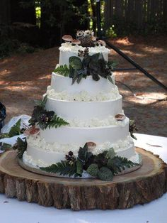 Very pretty woodsy cake. I like the wood to put the cake on.