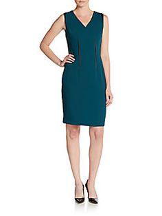 Tahari - Dakota Faux Leather-Trimmed Knit Dress