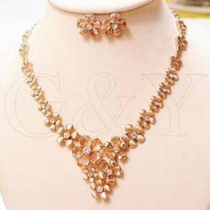 Free shipping VI 18K gold plated   bridal necklace dinner set luxurious rich rose gold elegant big crystal flowers women jewelry US $50.49