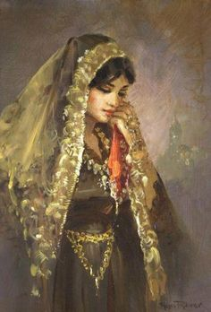 Turkish beauty in paintings of Ramzi Taskıran - Beauty will save Turkish Art, Turkish Beauty, Turkish Design, Images Noêl Vintages, Folk Costume, Woman Painting, Portrait Art, Islamic Art, Female Art