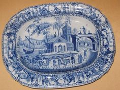 Henshaw Williamson CO Spanish Procession Blue White Small Platter C1820   eBay