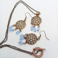 Round Chandelier Set Bronze Plated with Blue Crystal Drop Beads £17.50