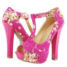 modern retro t-strap in PINK floral! what's not to love?