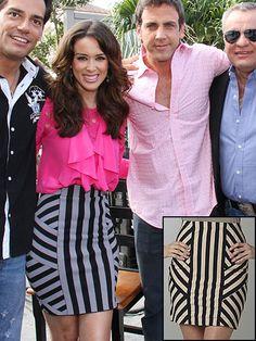 JACKIE BRACAMONTES    Nos encanta esta falda con estampado a rayas que lució la actriz mexica. Es de BCBGMAZAZRIA y su precio original es $188. Ésta de GB Gianni Bini es igualita y solo cuesta $44 en Dillards.com.