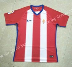 2018-19 Sporting de Gijón Home Red and White Thailand Soccer Jersey AAA 6e07757a8
